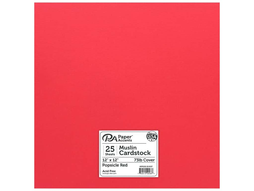 Paper Accents Cardstock 12 x 12 in. #8137 Muslin Popsicle Red 25 pc.