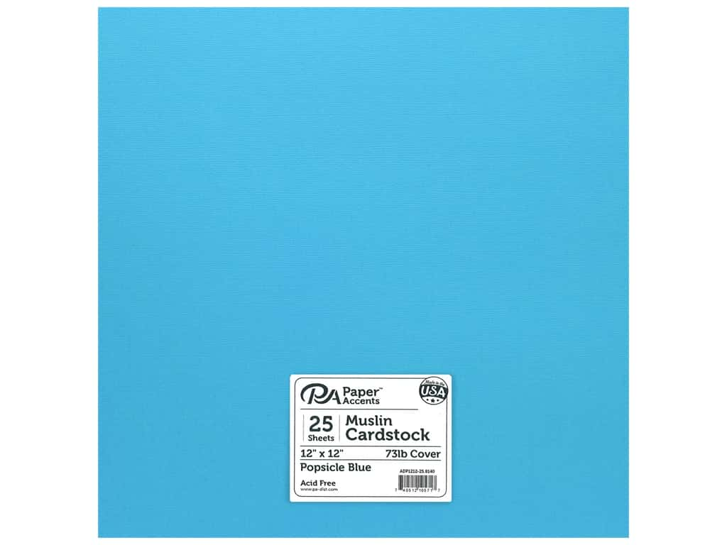 Paper Accents Cardstock 12 x 12 in. #8140 Muslin Popsicle Blue 25 pc.
