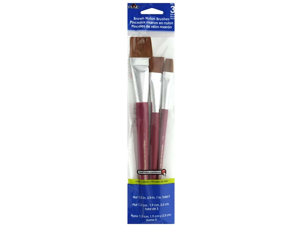 Plaid Paint Brush Set Flat Brown Nylon 3 pc