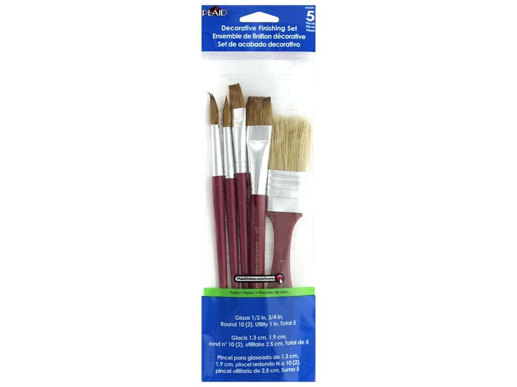 Plaid Paint Brush Set Decorative Finish Nylon 5 pc