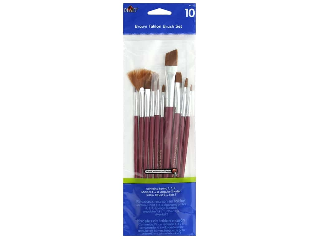 Plaid Paint Brush Set Brown Taklon 10 pc