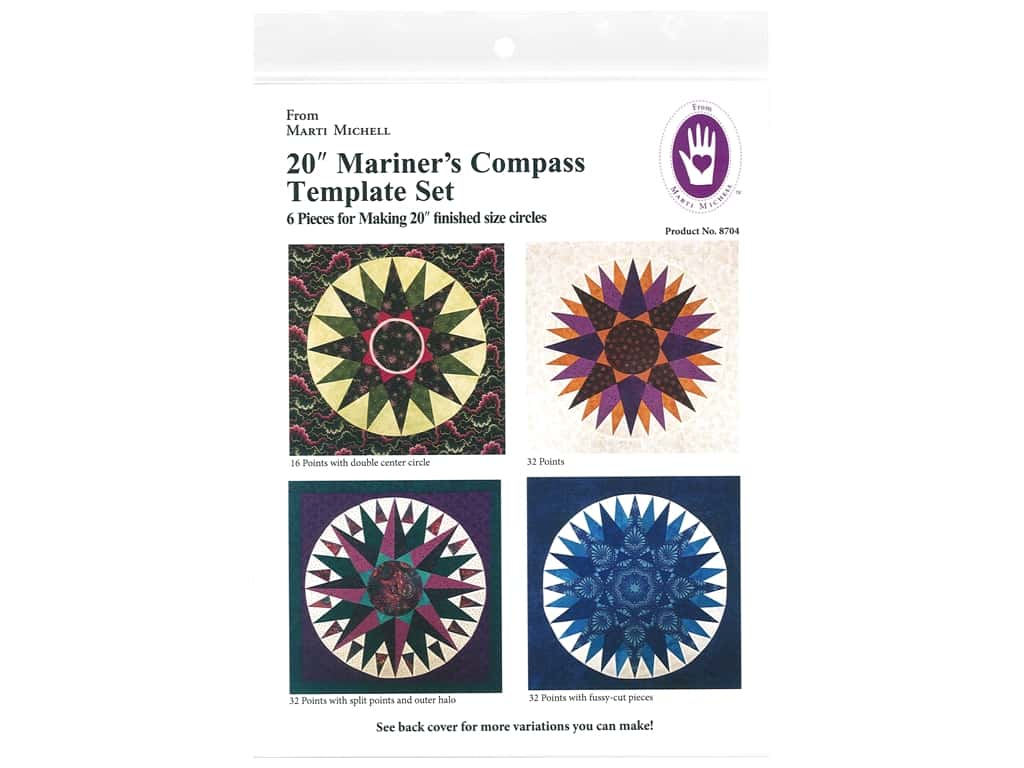 Marti Michell Perfect Patchwork Templates - 20 in. Mariner's Compass Template Set