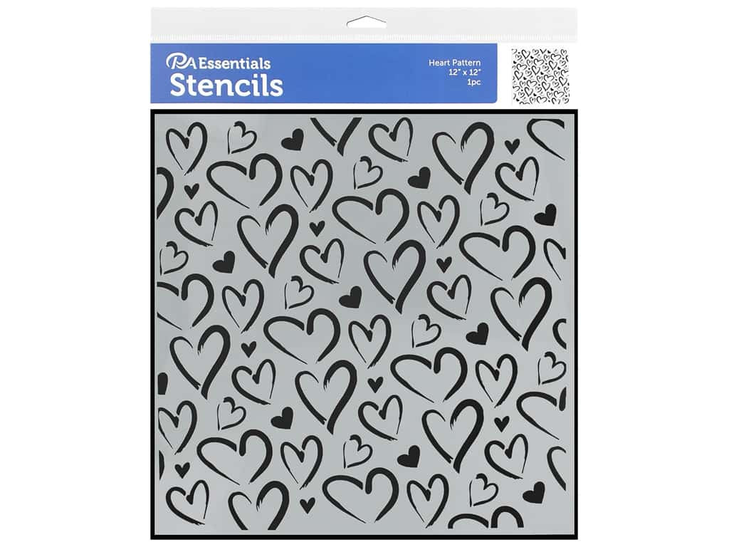 PA Essentials Stencil 12 x 12 in. Heart Pattern