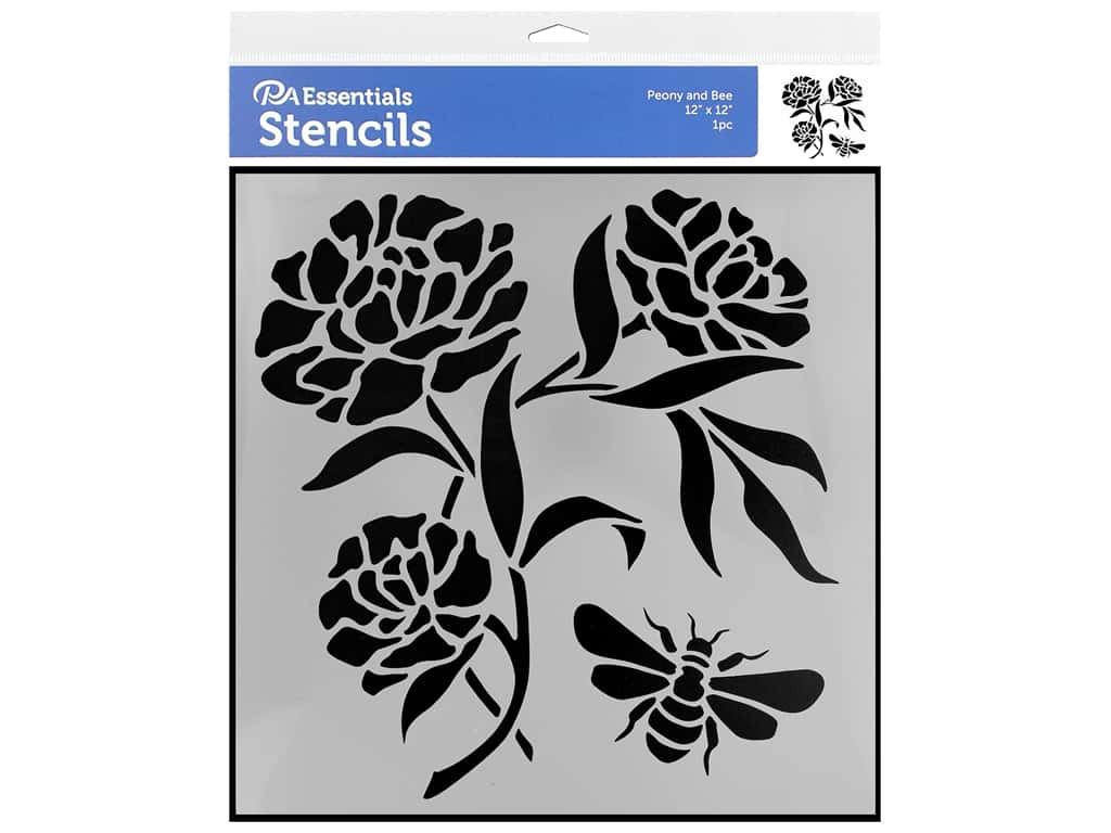 PA Essentials Stencil 12 x 12 in. Peony and Bee