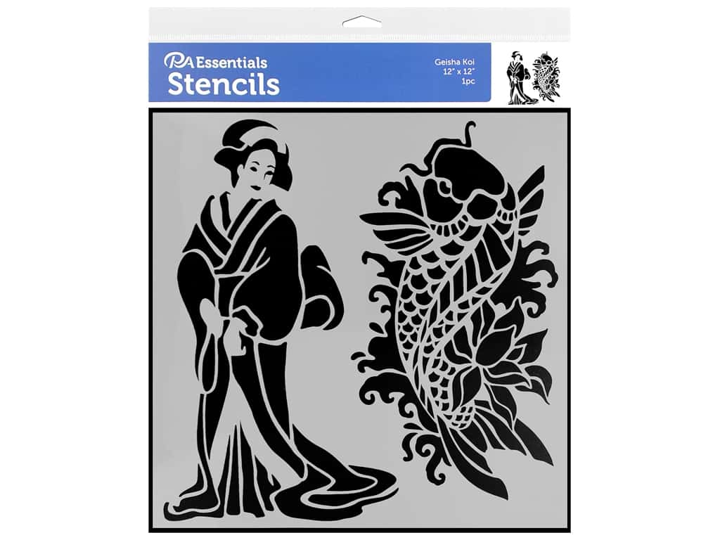PA Essentials Stencil 12 x 12 in. Geisha Koi