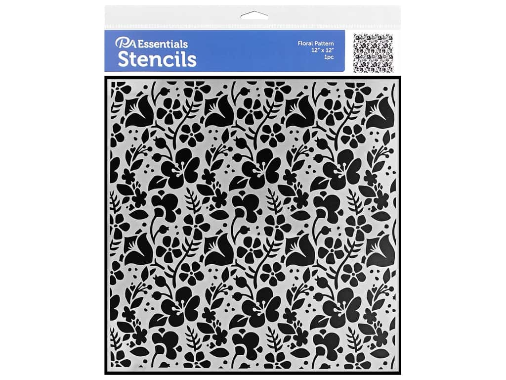 PA Essentials Stencil 12 x 12 in. Floral Pattern