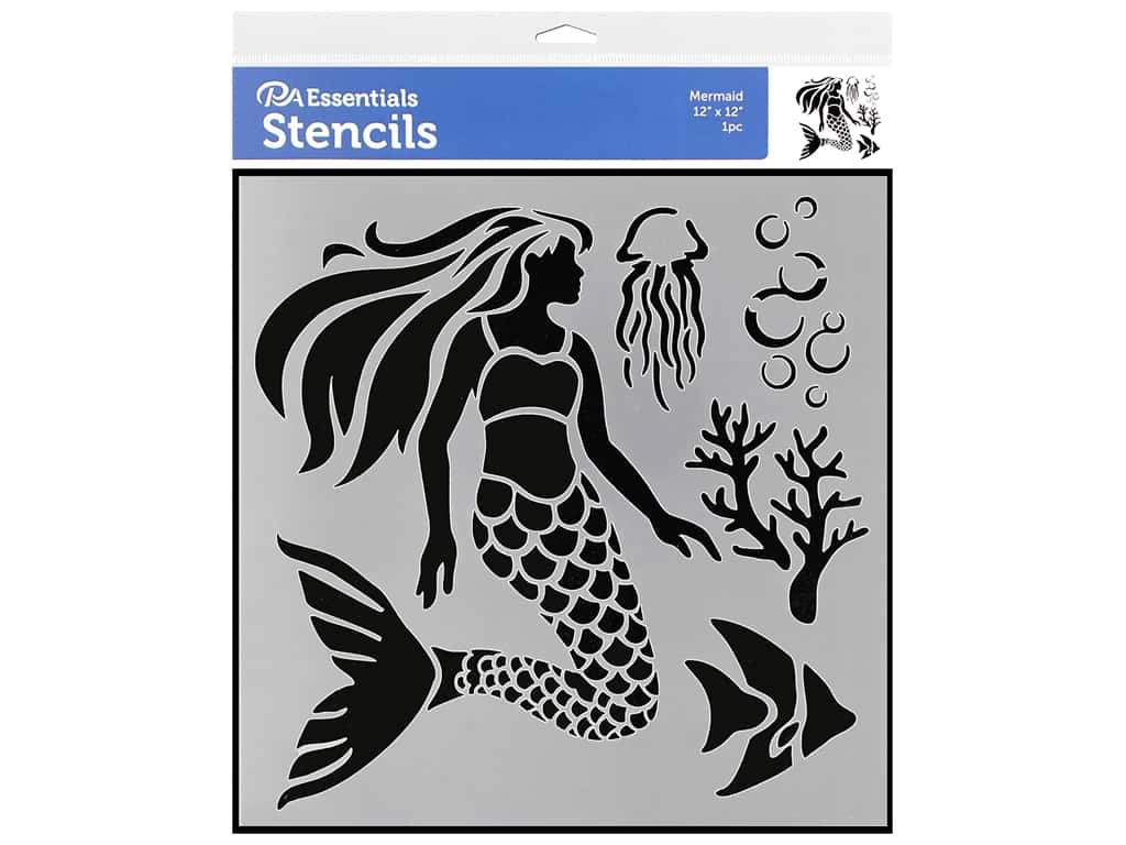 PA Essentials Stencil 12 x 12 in. Mermaid