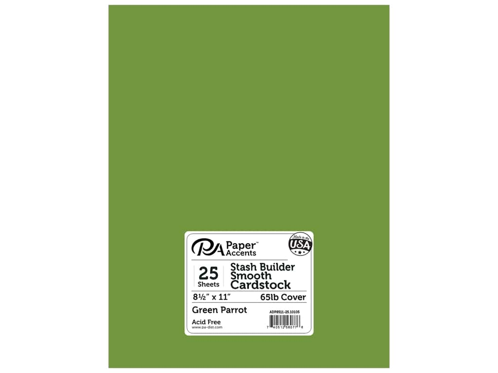 Paper Accents Cardstock 8 1/2 x 11 in. #10105 Stash Builder Green Parrot 25 pc.