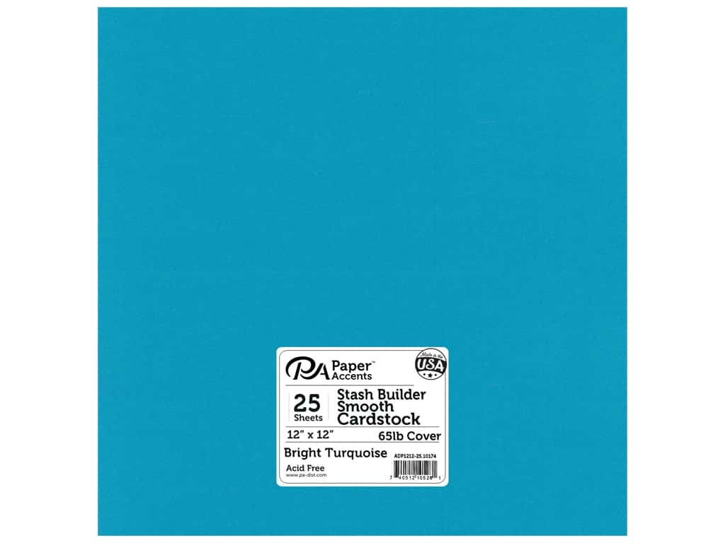 Paper Accents Cardstock 12 x 12 in. #10174 Stash Builder Bright Turquoise 25 pc.