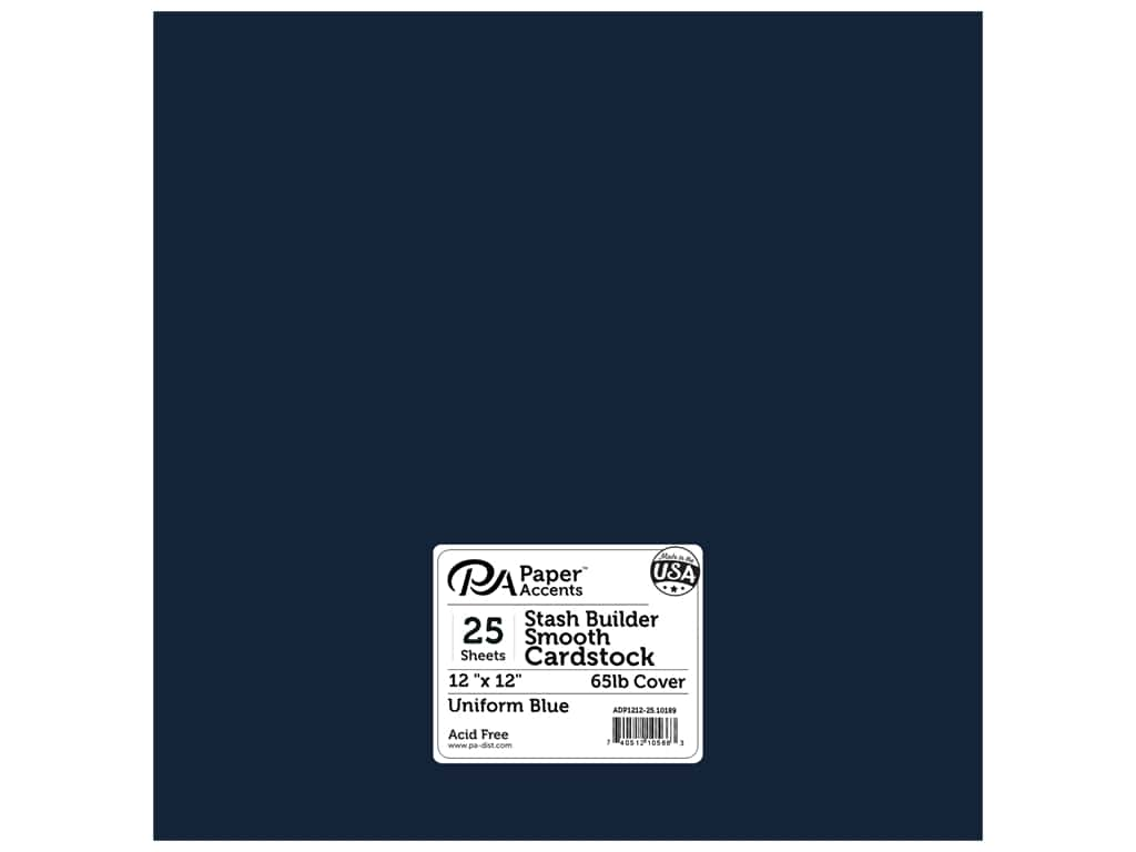 Paper Accents Cardstock 12 x 12 in. #10189 Stash Builder Uniform Blue 25 pc.