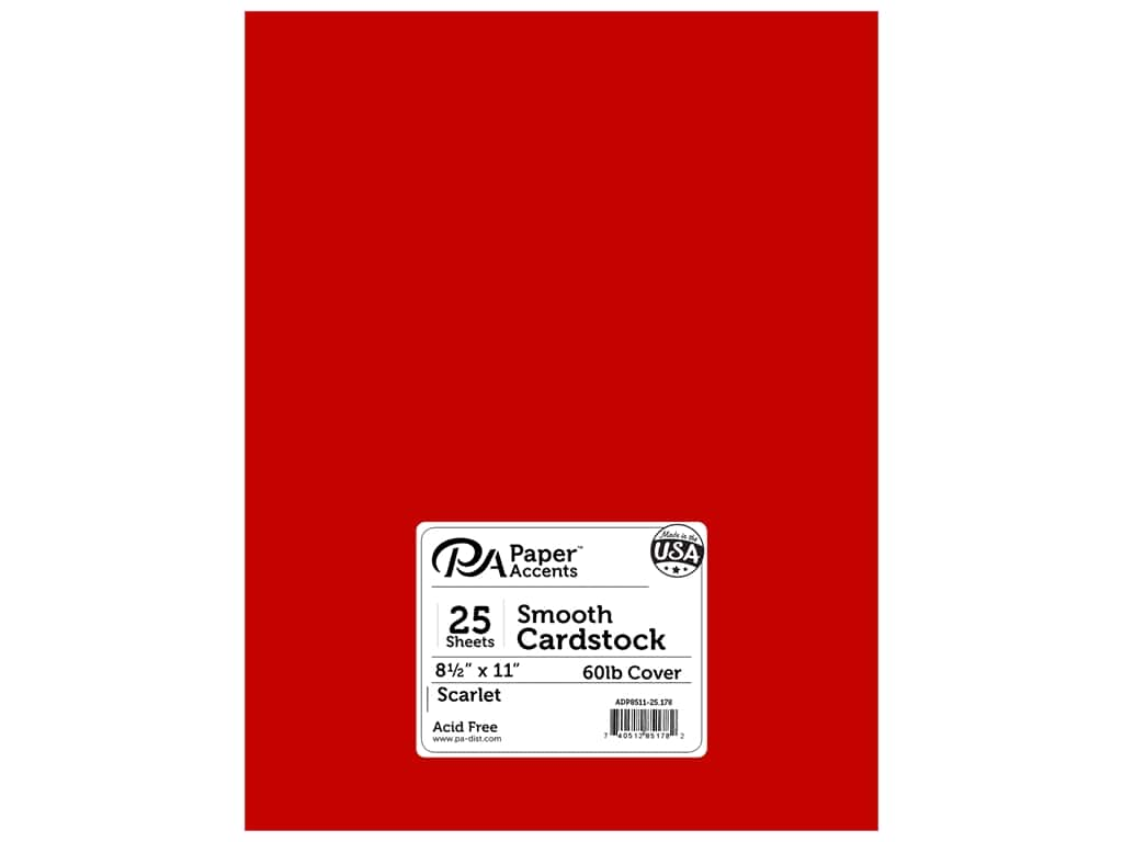 Paper Accents Cardstock 8 1/2 x 11 in. #178 Smooth Scarlet 25 pc.