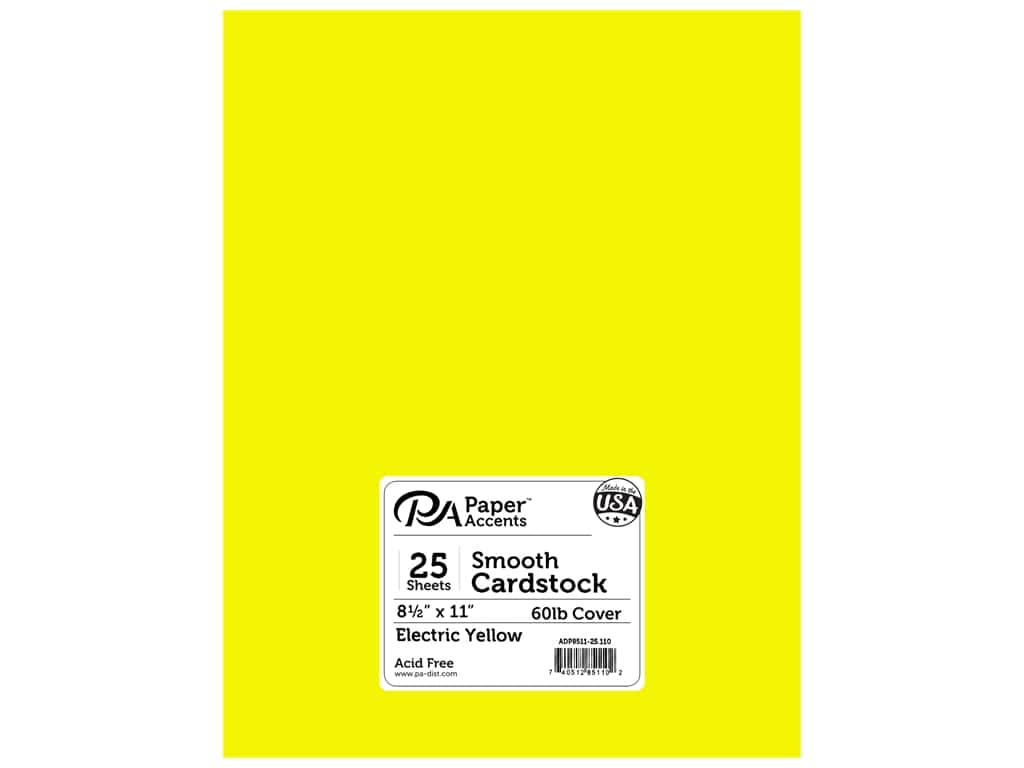 Paper Accents Cardstock 8 1/2 x 11 in. #110 Smooth Electric Yellow 25 pc.