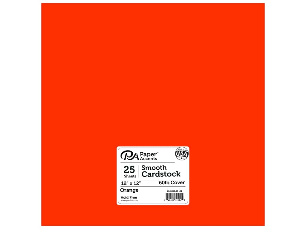 Paper Accents Cardstock 12 x 12 in. #104 Smooth Orange 25 pc.