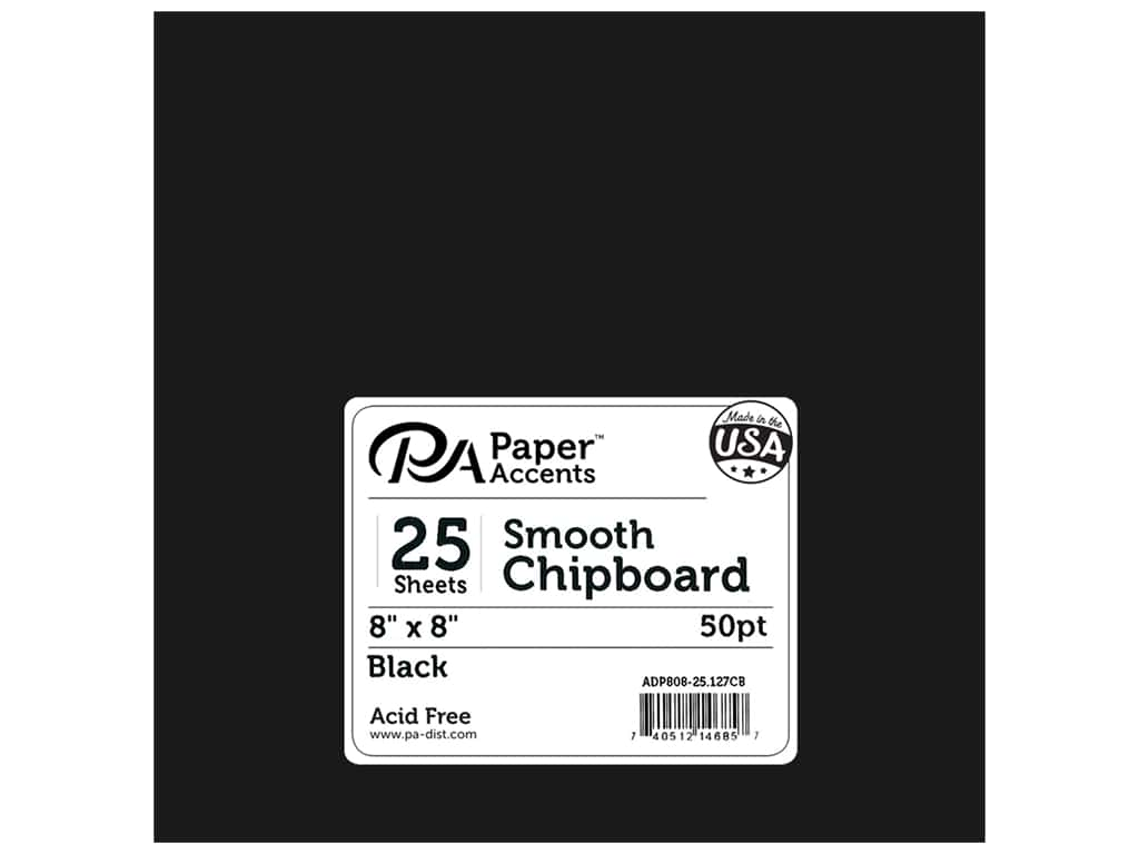 Paper Accents Chipboard 8 x 8 in. 50 pt. Extra Heavy Black 25 pc.