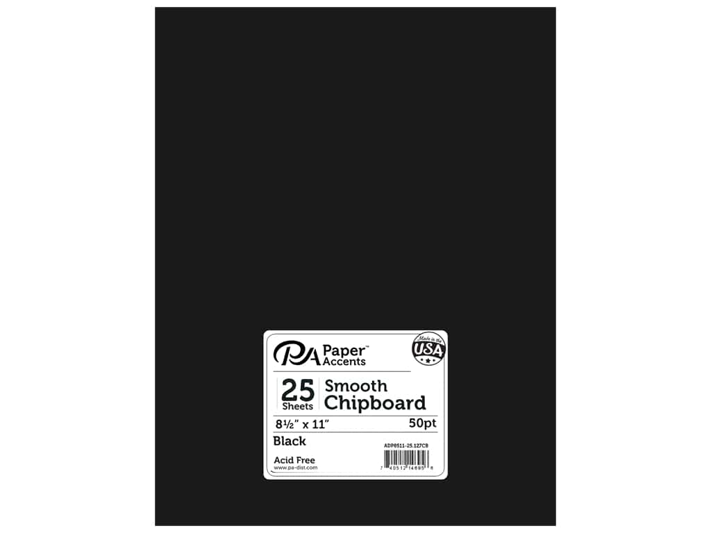 Paper Accents Chipboard 8 1/2 x 11 in. 50 pt. Extra Heavy Black 25 pc.