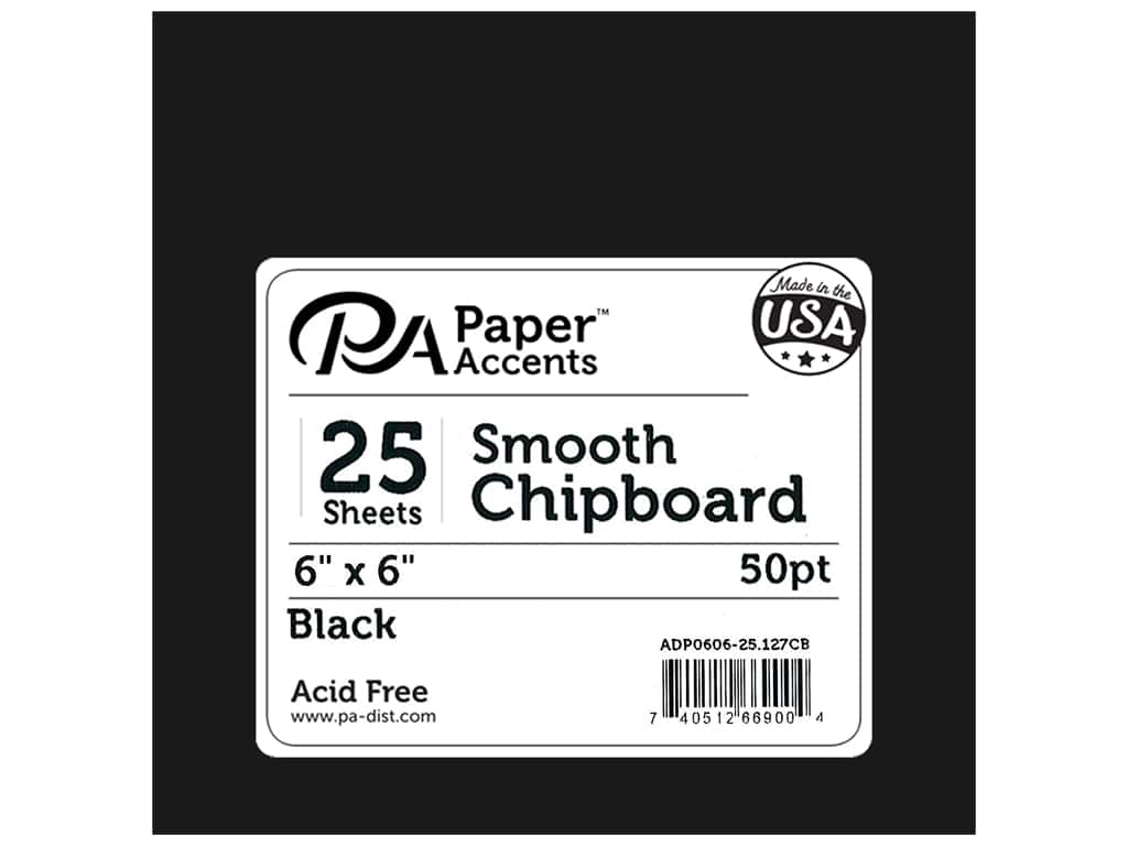 Paper Accents Chipboard 6 x 6 in. 50 pt. Extra Heavy Black 25 pc.