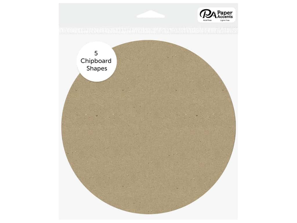 Paper Accents Chipboard Shape Circle 5 pc. Natural
