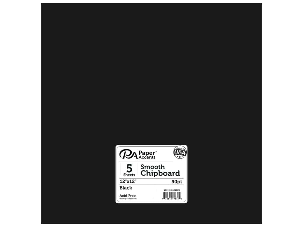 Paper Accents Chipboard 12 x 12 in. 50 pt. Extra Heavy Black 5 pc.