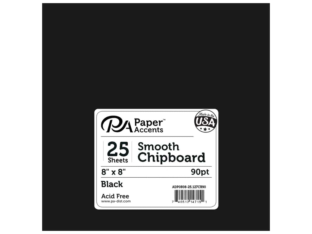 Paper Accents Chipboard 8 x 8 in. 90 pt. 2X Heavy Black 25 pc.