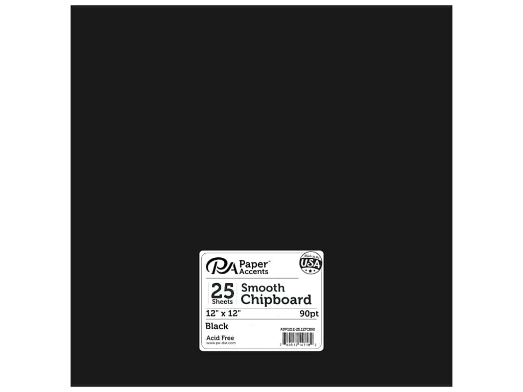 Paper Accents Chipboard 12 x 12 in. 90 pt. 2X Heavy Black 25 pc.