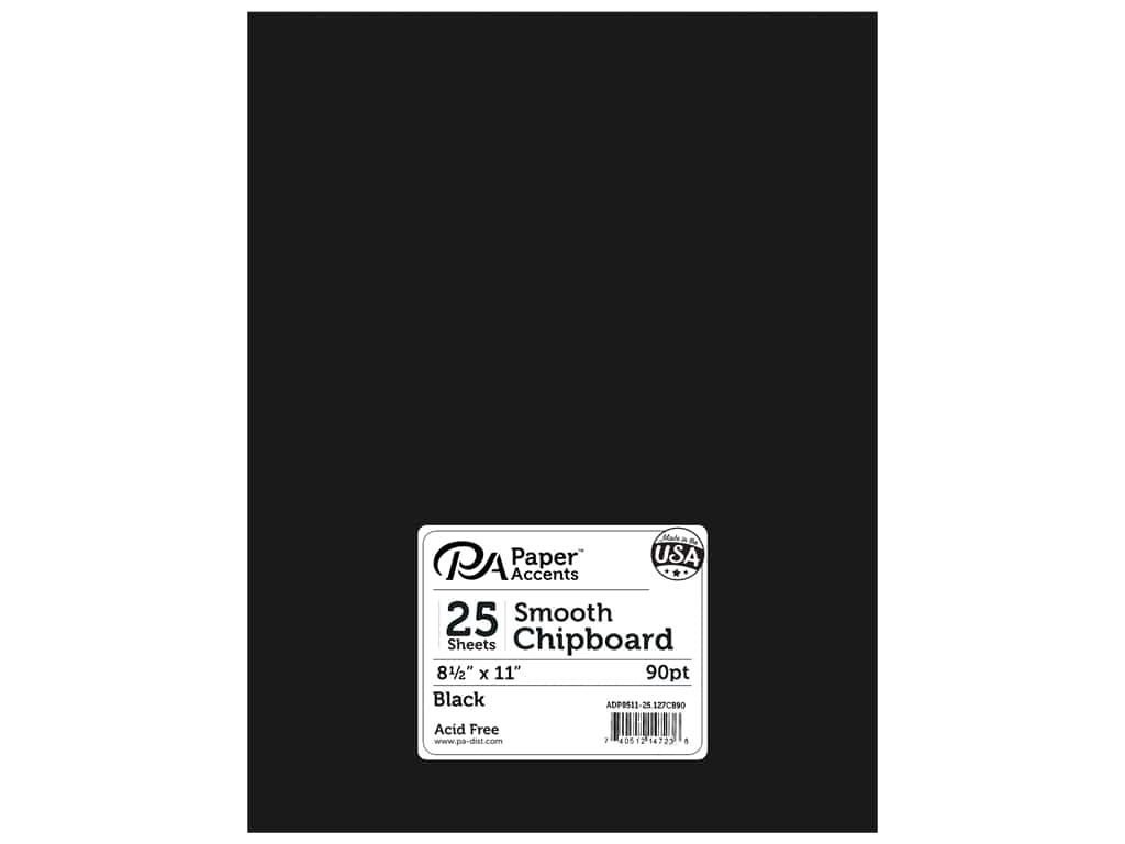 Paper Accents Chipboard 8 1/2 x 11 in. 90 pt. 2X Heavy Black 25 pc.
