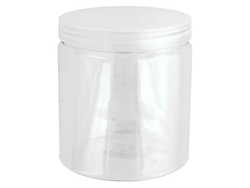 Sierra Pacific Crafts Storage Plastic Jar With Lid 3.5 in. x 4 in.