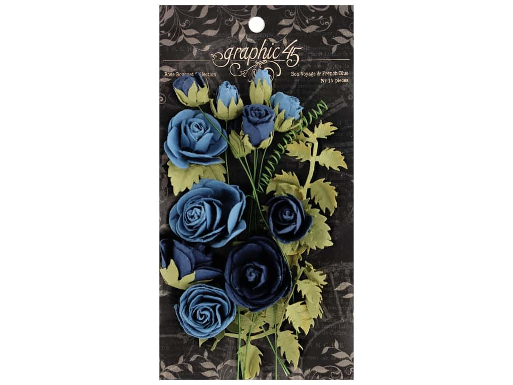 Graphic 45 Staples Rose Bouquet Staples Bon Voyage/French Blue