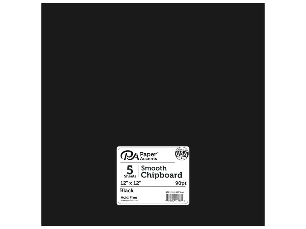 Paper Accents Chipboard 12 x 12 in. 90 pt. 2X Heavy Black 5 pc.
