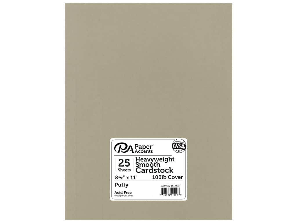 Paper Accents Cardstock 8 1/2 x 11 in. #18802 Heavyweight Smooth Putty 25 pc.