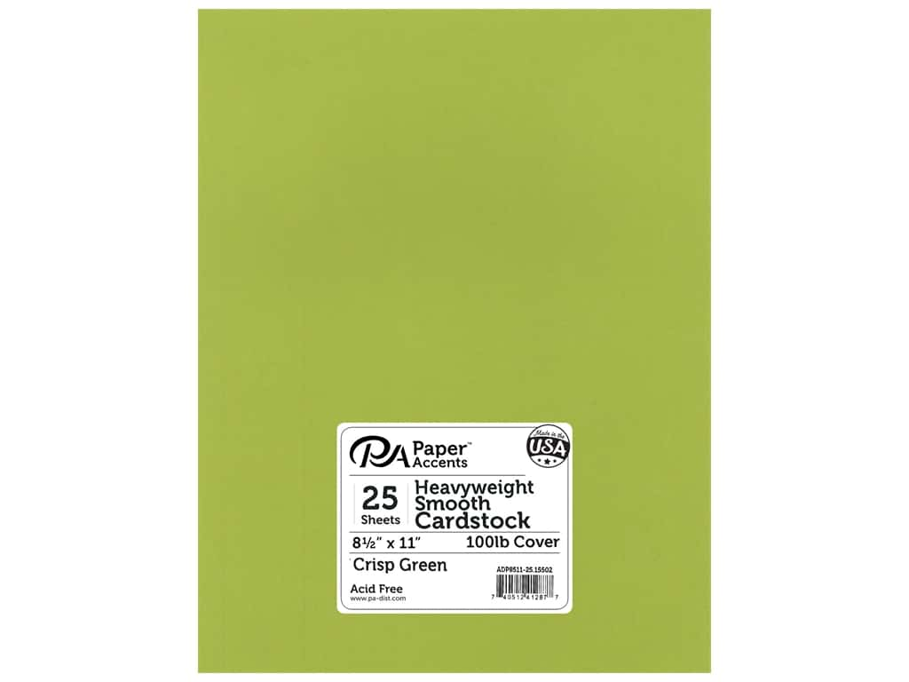 Paper Accents Cardstock 8 1/2 x 11 in. #15502 Heavyweight Smooth Crisp Green 25 pc.