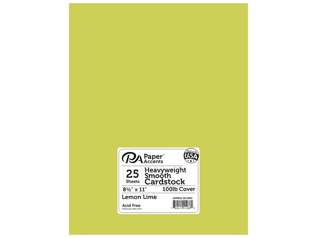 Paper Accents Cardstock 8 1/2 x 11 in. #15501 Heavyweight Smooth Lemon Lime 25 pc.