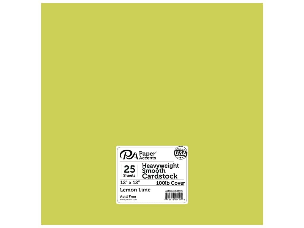 Paper Accents Cardstock 12 x 12 in. #15501 Heavyweight Smooth Lemon Lime 25 pc.