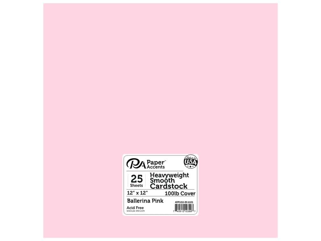 Paper Accents Cardstock 12 x 12 in. #11101 Heavyweight Smooth Ballerina Pink 25 pc.