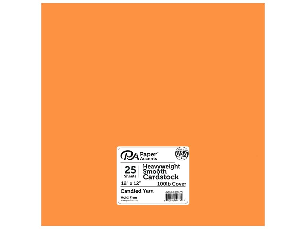 Paper Accents Cardstock 12 x 12 in. #13301 Heavyweight Smooth Candied Yam 25 pc.