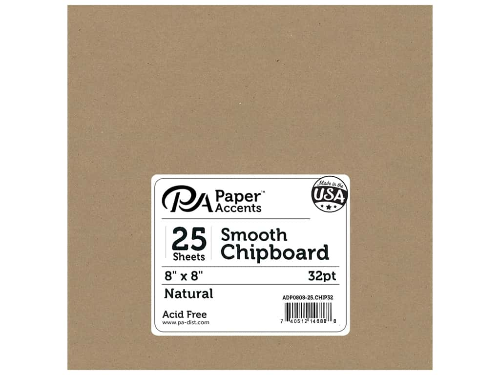 Paper Accents Chipboard 8 x 8 in. 32 pt. XL Heavy Natural 25 pc.