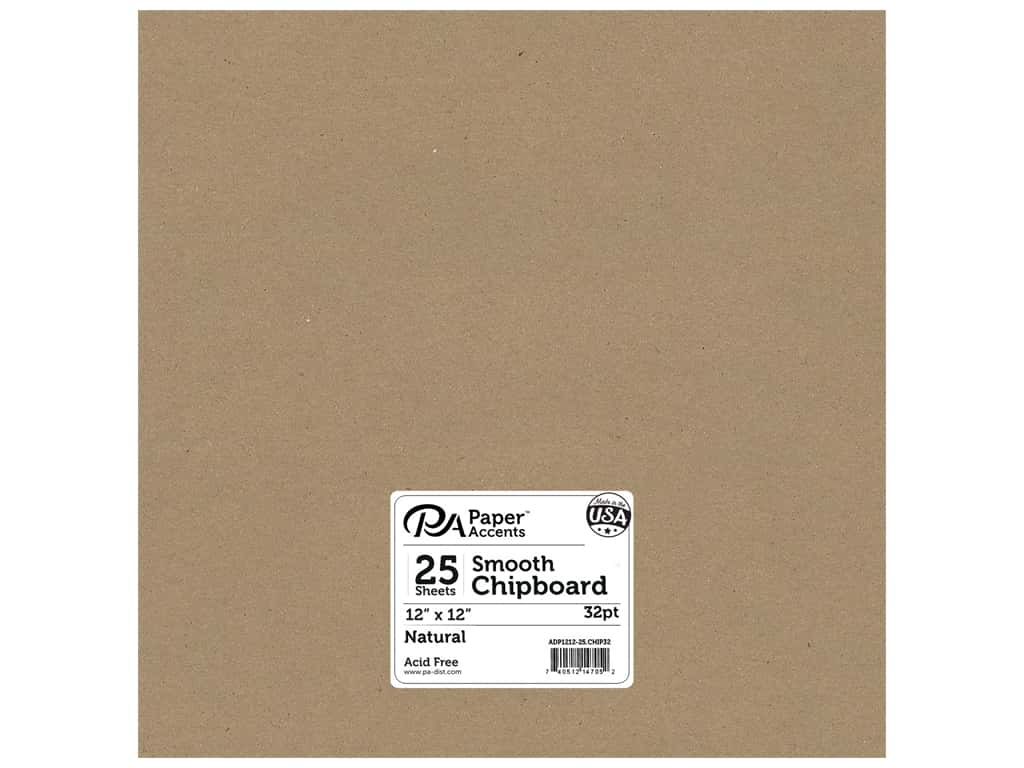 Paper Accents Chipboard 12 x 12 in. 32 pt. XL Heavy Natural 25 pc.
