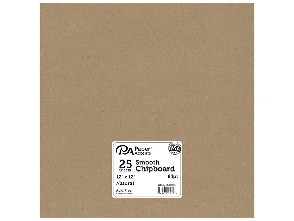 Paper Accents Chipboard 12 x 12 in. 85 pt. 2X Heavy Natural 25 pc.
