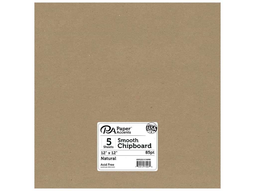 Paper Accents Chipboard 12 x 12 in. 85 pt. 2X Heavy Natural 5 pc.