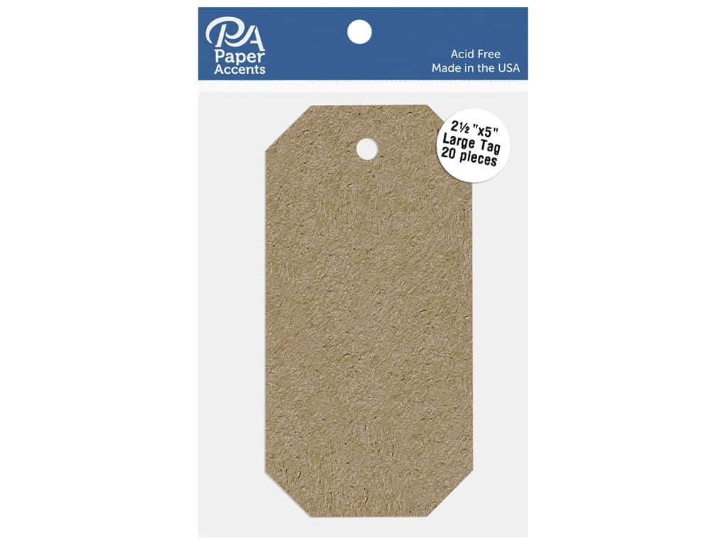 Paper Accents Cardstock Shape Large Tag 2.5 in. x 5 in. 65 lb Kraft 20 pc