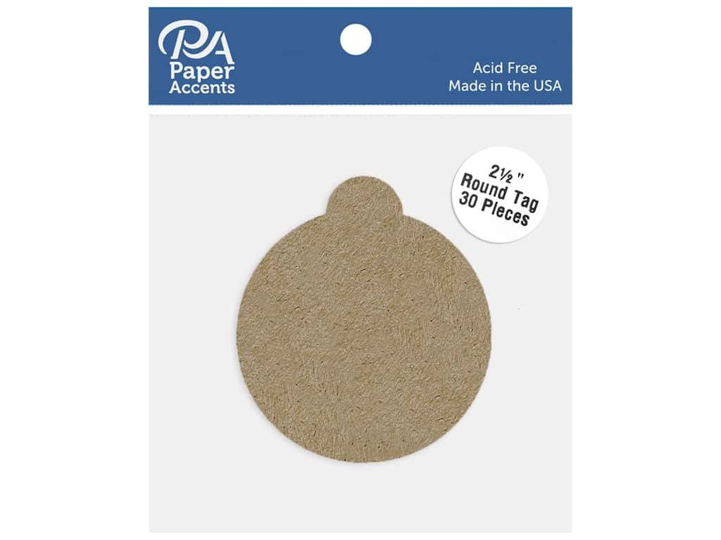 Paper Accents Cardstock Shape Round Tag 2.5 in. 65 lb Kraft 30 pc