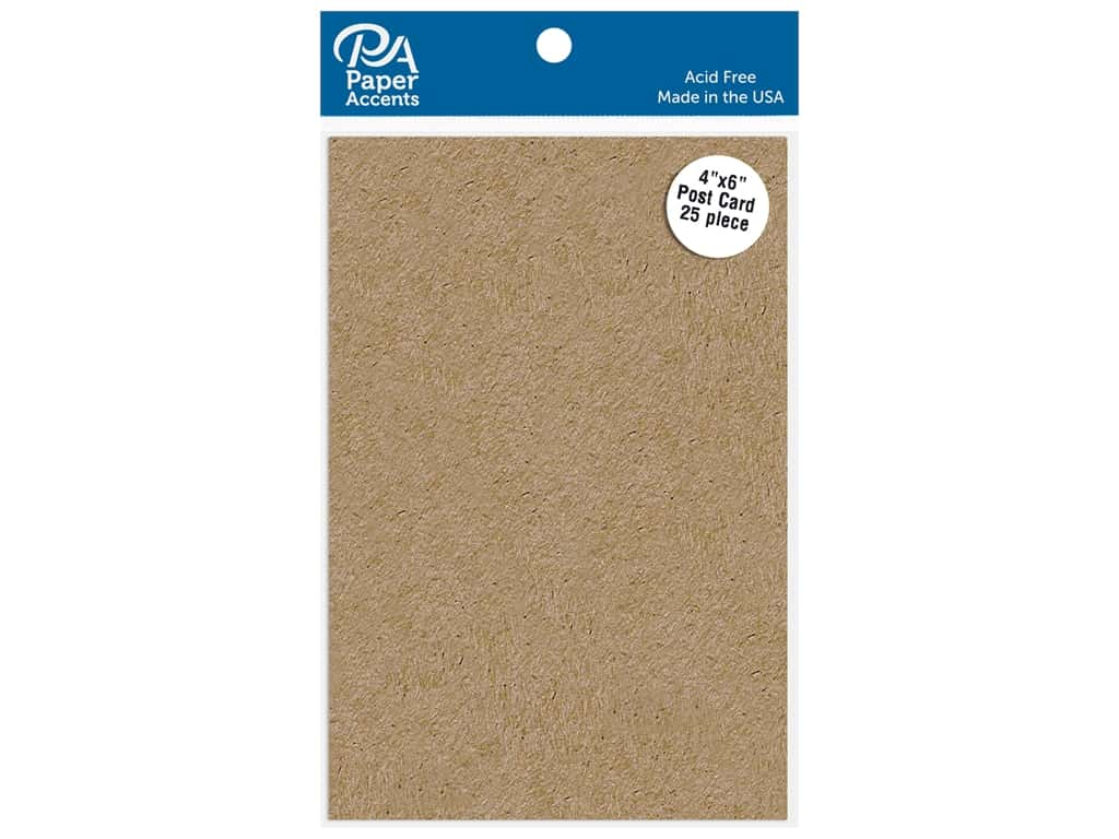 Paper Accents Cardstock Shape Post Card 4 in. x 6 in. 65 lb Kraft 25 pc