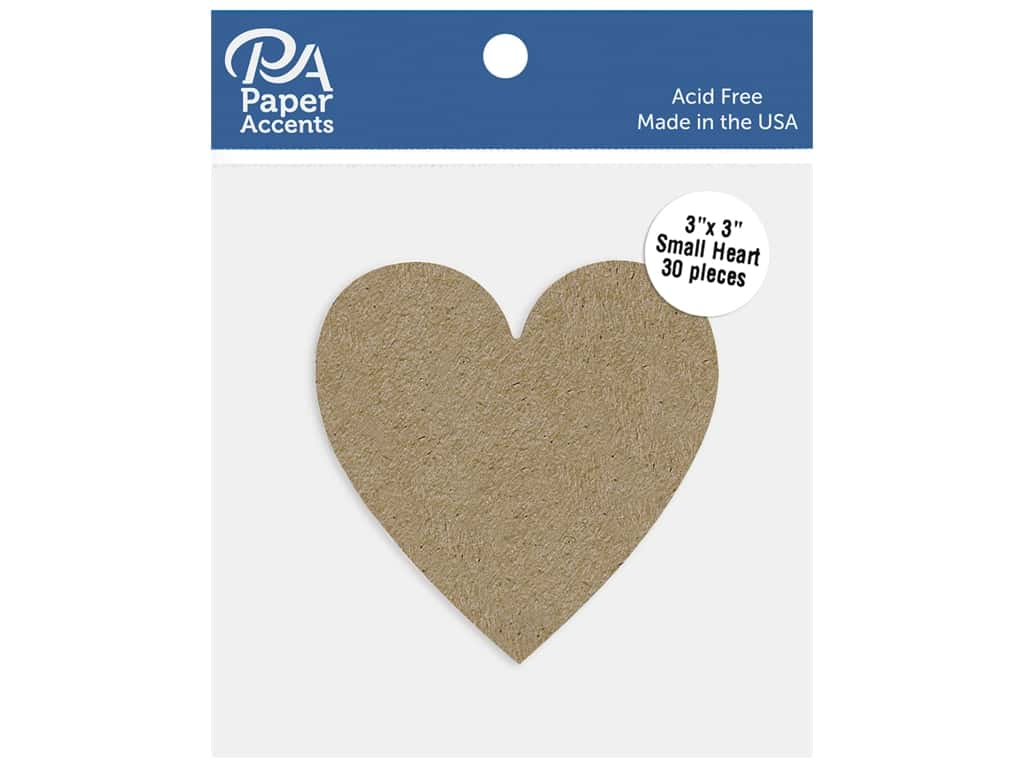 Paper Accents Cardstock Shape Small Heart 3 in. x 3 in. 65 lb Kraft 30 pc