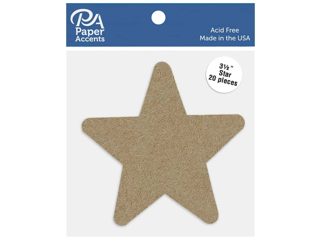 Paper Accents Cardstock Shape Star 3.5 in. 65 lb Kraft 20 pc