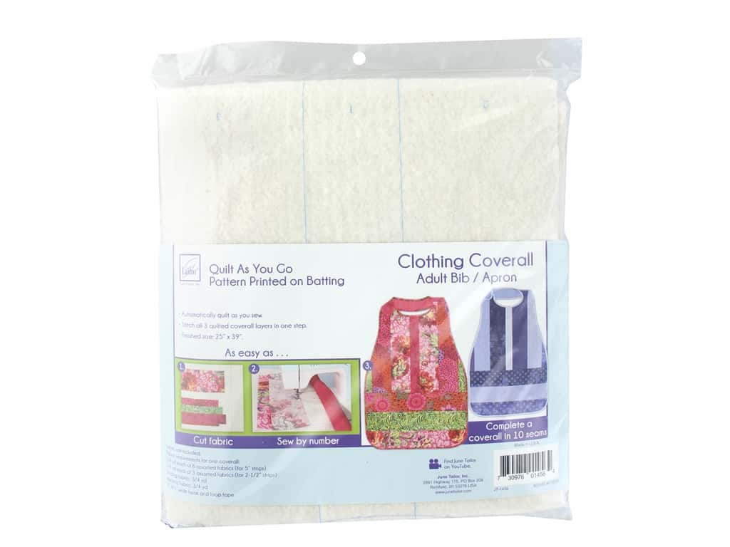 June Tailor Batting Quilt As You Go Cotton/Polyester Coverall Adult Bib