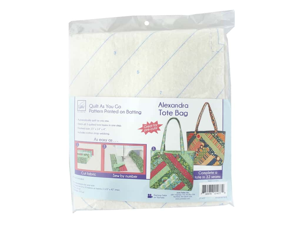 June Tailor Batting Quilt As You Go Cotton/Polyester Alexandra Tote Bag