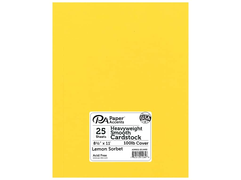 Paper Accents Cardstock 8 1/2 x 11 in. #14402 Heavyweight Smooth Lemon Sorbet 25 pc.