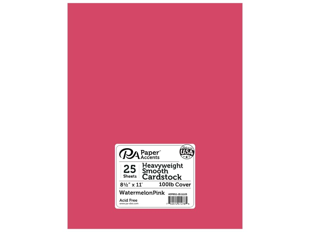 Paper Accents Cardstock 8 1/2 x 11 in. #11103 Heavyweight Smooth Watermelon Pink 25 pc.