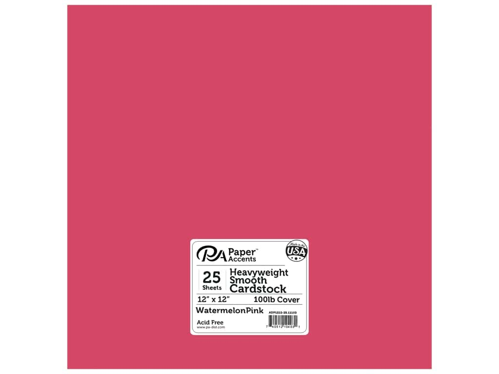 Paper Accents Cardstock 12 x 12 in. #11103 Heavyweight Smooth Watermelon Pink 25 pc.