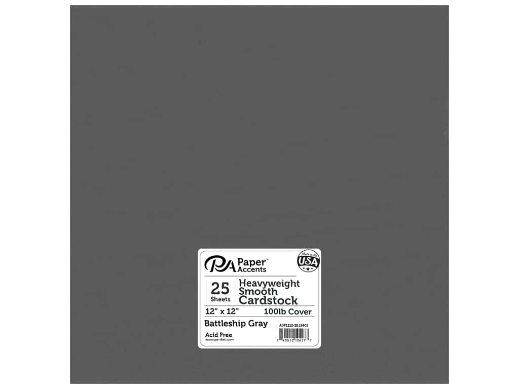Paper Accents Cardstock 12 x 12 in. #19902 Heavyweight Smooth Battleship Gray 25 pc.