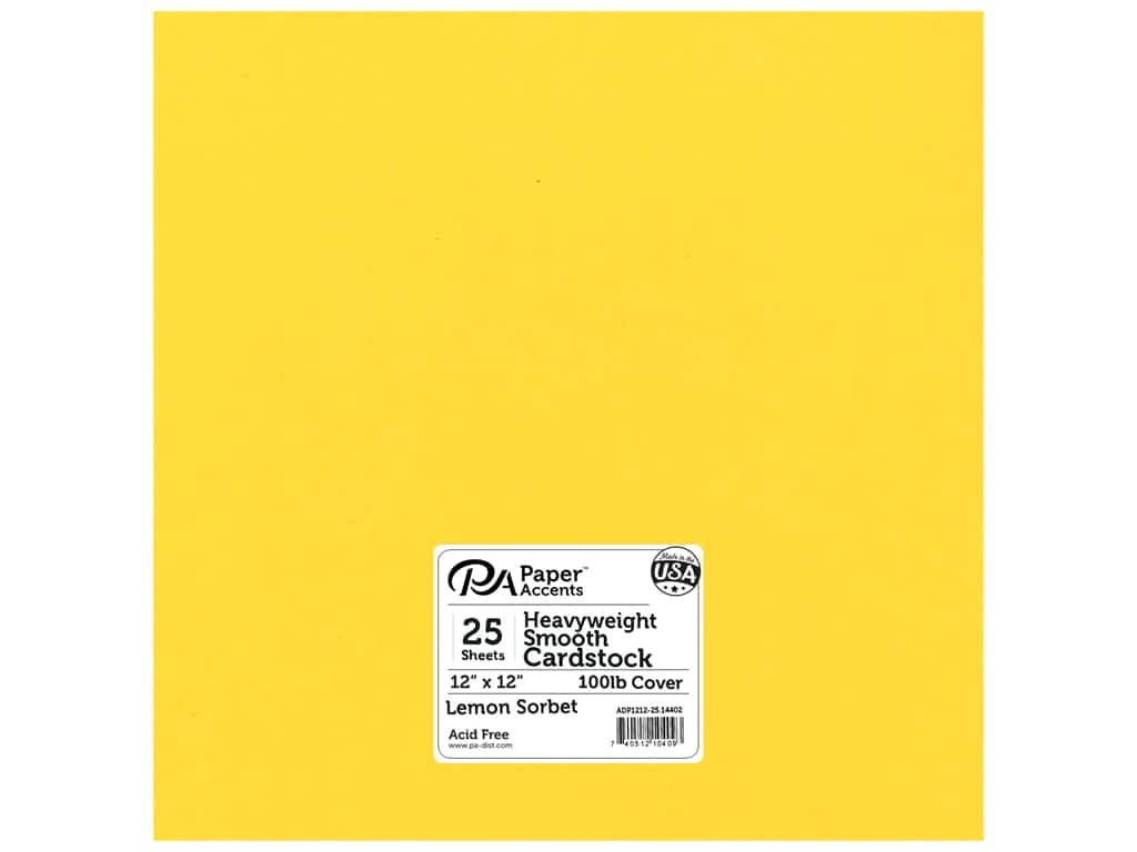 Paper Accents Cardstock 12 x 12 in. #14402 Heavyweight Smooth Lemon Sorbet 25 pc.